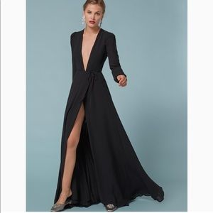Reformation Willow wrap long sleeve maxi dress